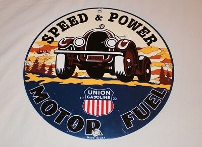 "Vintage Union Gasoline Speed Power Motor Fuel 11 3/4"" Porcelain Metal Truck Sign"