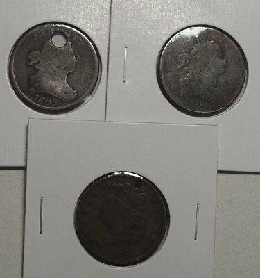 Lot of Three U. S. Half Cents, Inexpensive Type Coins, Discounted    0201-01