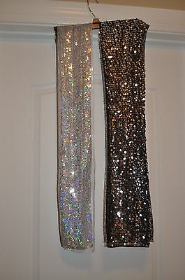 Justice Girls Silver Sequin Scarves Black and White Lot of 2