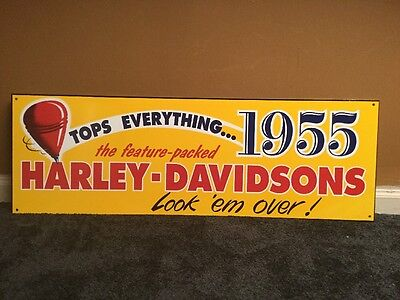 "Vintage 1955 Feature Packed Harley Davidson Motorcycles 36"" X 12"" Metal Sign Gas"