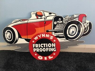 """Vintage Wynn's Friction Proofing """"deuce Coupe Rat Rod"""" 22"""" Metal Gas & Oil Sign!"""