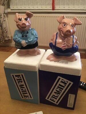 NatWest Wade Pigs Maxwell and Lady Hilary Ceramic Piggy Bank with box and sleeve