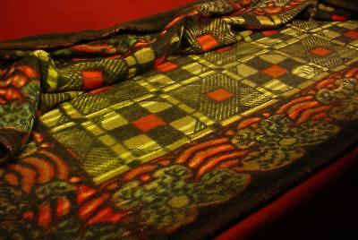 Antique Chase Carriage Buggy Blanket Wool Lap Quilt 46X64 Dramatic Colors