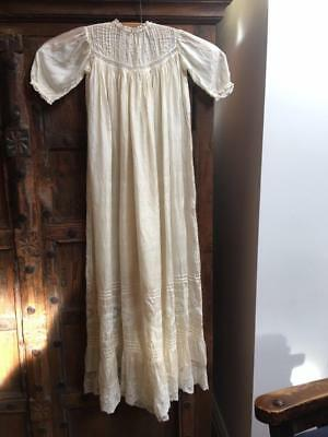 Baby 0-6 Months Beautiful Antique Ivory Silk Christening Gown with Lace Detail