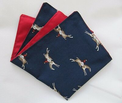 Mens Navy Blue Racing Horses Cotton Pocket Square/Handkerchief/Hankie/Kerchief
