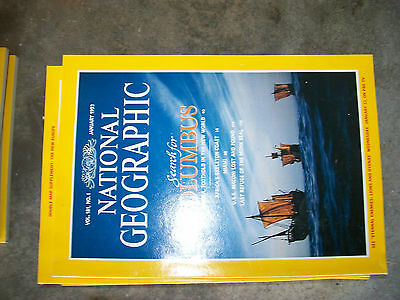 Mixed Lot of 15 National Geographic Magazines 1992 1980s