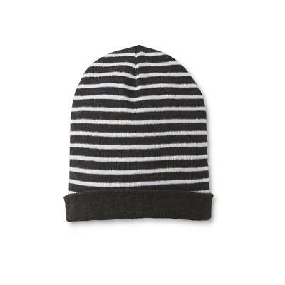 bacfd1657d6 Men s Beanie Knit Hat Striped Dark Grey White Slouchy Cuffed Free Shipping!