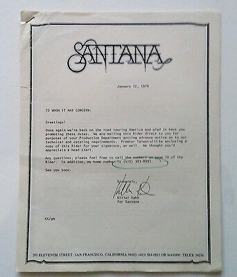 *RaRe* (1979) SANTANA USA Tour Technical requirements + RIDER by Bill Graham BGP