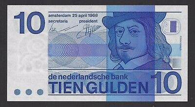 """""""UNC"""" 1968 Netherlands 10 Gulden with """"O"""" P-91a """"0284182362"""", #104-3"""