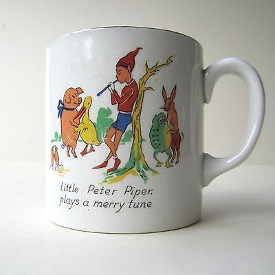 Vintage Child's Mug Old Mother Hubbard & Peter Piper Gilt detail Made in England