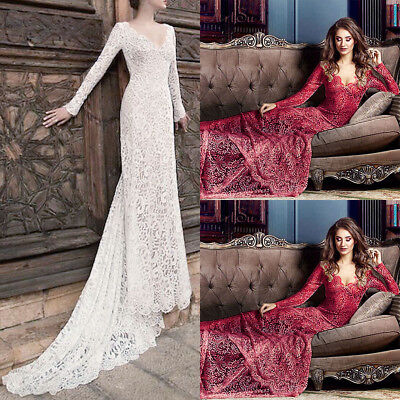 Women Formal Lace Long Evening Party Wedding Bridesmaid Ball Prom Gown Dress