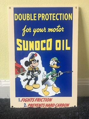 "Vintage Nos ""sunoco Oil"" Mickey Mouse & Donald Duck 12"" X 8"" Metal Gasoline Sign"