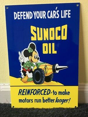 "Vintage Nos Scarce Sunoco Mickey Mouse W/ Oil Cannon 12"" X8"" Metal Gasoline Sign"