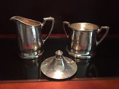 Vintage Reed & Barton Silver Soldered Creamer and Sugar with Lid