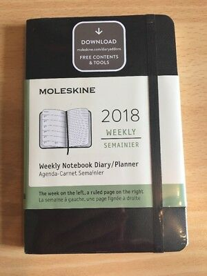 Moleskine 2018 Diary Black Pocket Soft Cover Weekly Notebook Planner