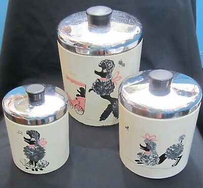Ransburg Canisters Set Of 3 Hand Painted Poodles Vtg Metal Kitchenware Retro