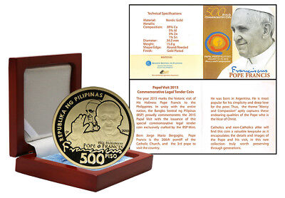 Philippines 500 Piso, 15 g Gold Plated Coin, 2015, Mint, Pope Francis