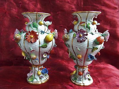 Rare Meissen Porcelain Applied Fruit & Flower Vases