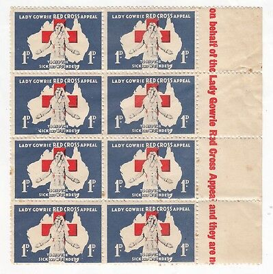 Australia - 1940s Lady Gowrie Red Cross cinderella labels (BLOCK OF 8 WITH TEXT)