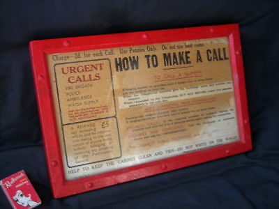 Vintage Red PHONE Box 'How To Make A Call' SIGN, Wooden Frame - Telephone, PMG