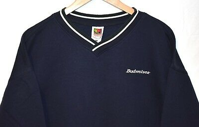 Vintage Budweiser Spell Out Logo Navy Blue Crewneck Sweater Size X-Large