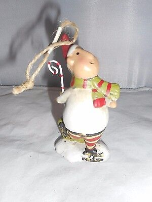 Ceramic Ice Skating Elf with Present Christmas Ornament New By Midwest