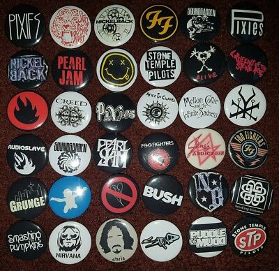Grunge Rock Button Badges (Collection 2). Pins.. Collector. Bargain :0)