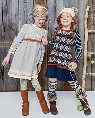 HANNA Andersson Fair isle Grey Cream Knitted Sweater Dress Size ...