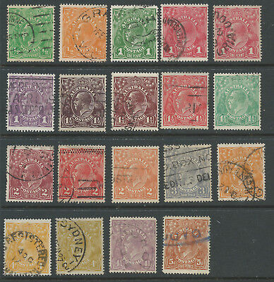 Australia KGV Single Watermark Assortment Used