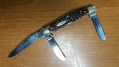 "Vintage 1978 Case XX USA 63047 Large Stockman Pocket Knife ""Bone Handles"
