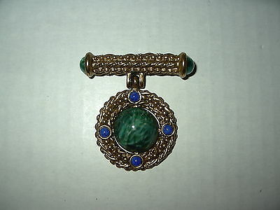 Vintage Victorian Goldtone Green & Blue Cabochon Stone Brooch Pin