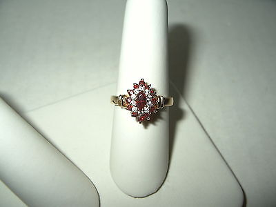 Vintage Signed RSC Heavy Goldplate Red & Clear Rhinestone Ring - Size 7