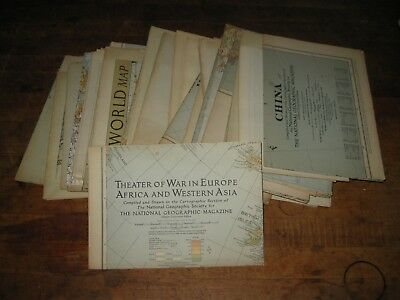 Vintage 1930's and early 40's National Geographic maps  lot of 34...see list