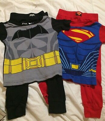 2 Sets of Boys Pajamas, Batman & Superman Size 4T