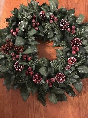 vintage christmas ornament wreath Pine Cones And Greenary