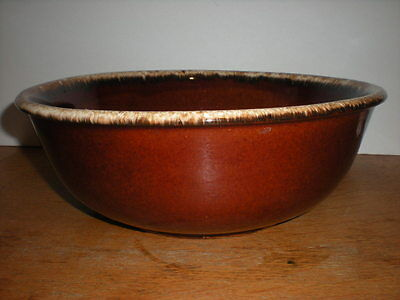 """Vintage Hull Brown Drip Pottery Mixing Serving Bowl 10"""" Oven Proof H.P. USA"""