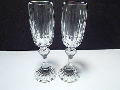 2 Saint St. Louis Fontainebleau Champagne Flutes~~extremely rare~stamped