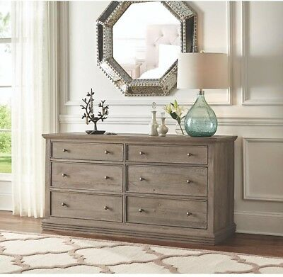 Dresser 6 Drawer Solid Wood Grain Bedroom Furniture Rustic Style Antique Grey