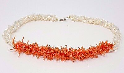 Vintage Natural Pink Branch Coral White Mother of Pearl Beaded Runway Necklace