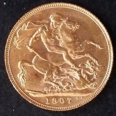 1907 Great Britain One Sovereign Gold ( .916 ) coin Edward VII