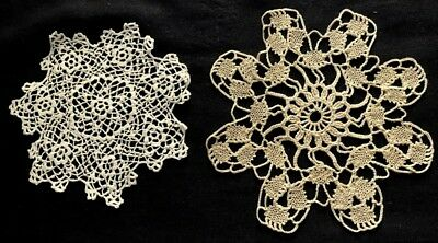 "Very Vintage Two Unusual Patterns Crochet Lace Doilies: 5 3/4"" dia; 6 3/4"" dia"
