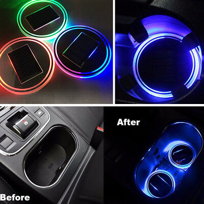 Car Cup Holder Bottom Pad Mat LED Light Cover Trim