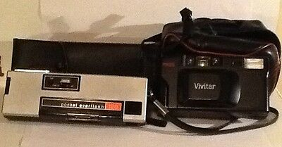Two Vintage  Cameras- Vivitar F35 - Keystone Pocket Everflash 120