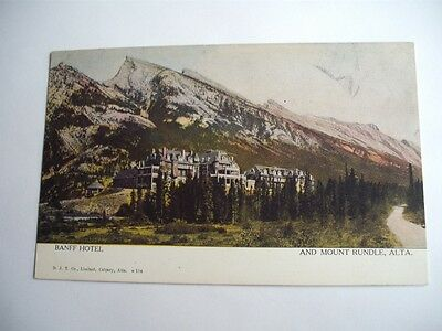 Banff Hotel And Mount Rundle Canada Vintage Postcard