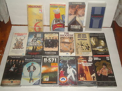 Vhs Sealed Video Tape Lot 15 Towering Inferno Chinese Connection Titanic Blank