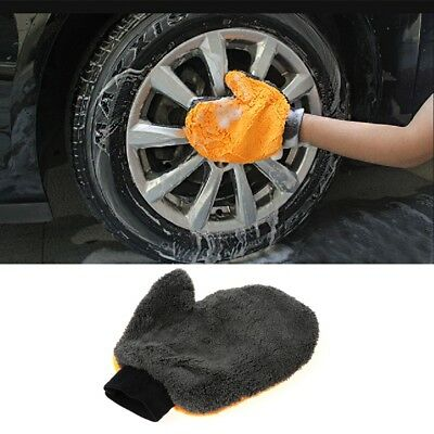 Car Coral Velvet Wash Gloves Cleaning Brush Double-sided Water Absorption Tool