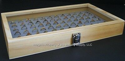 Natural Wood Glass Top Lid Grey 144 Ring Jewelry Display Storage Box Case