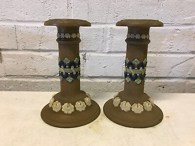 Antique Royal Doulton Pottery Silicon Pair of Candle Sticks Holders