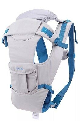 CYLEN 100% Cotton 5 in 1 Baby Carrier Featuring a Hip Seat and Hood C01, GRAY