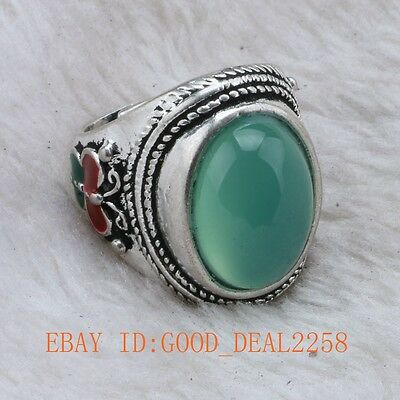 Chinese Handwork tibet silver Cloisonne mosaic Natural Sapphire Ring